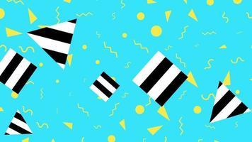 movimento formas geométricas abstratas, triângulos e quadrados listrados, fundo colorido de memphis video
