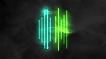 animação linhas verdes e azuis abstratas de néon, fundo do movimento disco