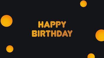 texto de introdução de animação feliz aniversário em fundo de moda negra e minimalismo com bumbles geométricos video