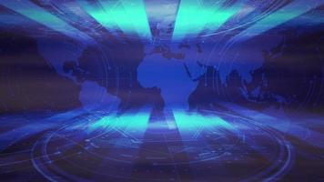 intro nieuws grafische animatie met neonlijnen en wereldkaart, abstracte achtergrond