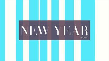 animazione intro testo felice anno nuovo su sfondo bianco di moda e minimalismo con strisce blu video