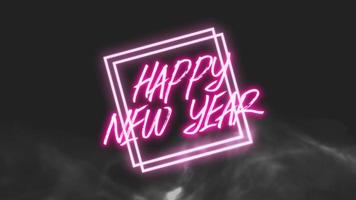 animation intro text gott nytt år på mode och club bakgrund med glödande rosa linjer