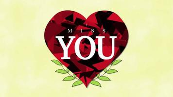 Animated closeup I Miss You text and motion romantic big red hearts and flowers on Valentines day background video