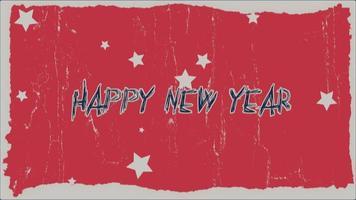 animazione intro testo felice anno nuovo su hipster rosso e sfondo grunge con fulmini video
