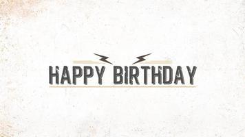 animazione intro testo buon compleanno su hipster bianco e sfondo grunge video