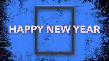animazione intro testo felice anno nuovo su hipster blu e sfondo grunge con pennello splash video