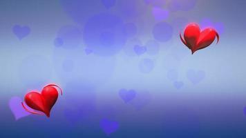 animação closeup movimento pequenos corações românticos e brilhos em fundo azul brilhante de dia dos namorados