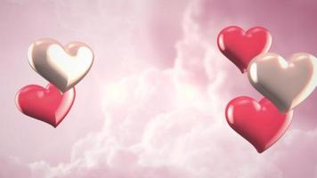 Animation closeup motion small romantic hearts on pink cloudy Valentines day shiny background video