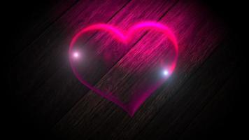 Animación movimiento de primer plano corazón romántico de neón grande sobre fondo de pared, día de San Valentín vacaciones video