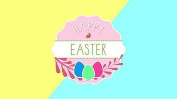 Gros plan animé texte joyeuses Pâques et oeufs sur vertige jaune et bleu video
