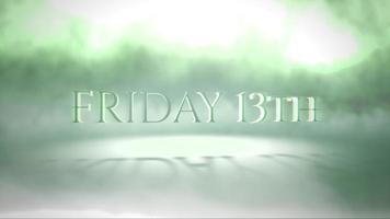 animationstext fredag 13: e på mystisk skräckbakgrund med grön dimma video