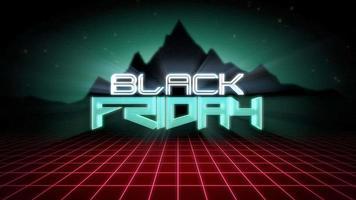 animação intro texto black friday e red grid e mountain, retro background video