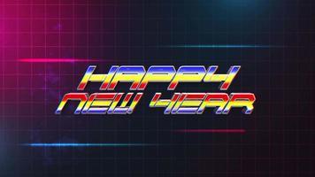 animering intro text gott nytt år och buller linjer och röda och blå rutnät, retro semester bakgrund