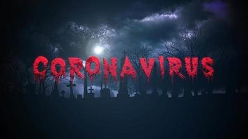 Animated closeup text Coronavirus and mystical background with dark clouds and grave on cemetery video