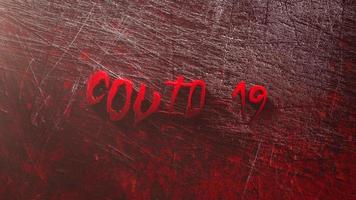 Animated closeup text Covid-19 and mystical horror background with dark bloode video