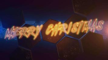 Animationstext Frohe Weihnachten und Cyberpunk-Animationshintergrund mit Computerchip und Sechsecken video