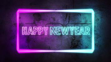 animação texto feliz ano novo e luzes de néon na parede, fundo abstrato do feriado