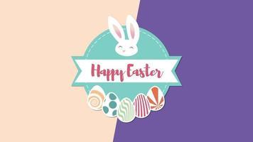 closeup animado texto feliz páscoa e coelho na vertigem roxa e marrom video