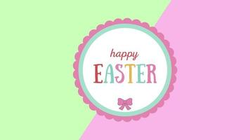 animierte Nahaufnahme glücklich Ostern Text auf grünem und rosa Schwindelhintergrund video