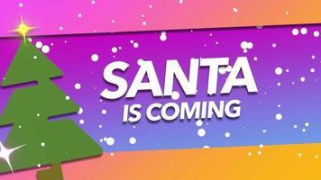 animerad närbild santa kommer text och vita snöflingor på semester bakgrund video