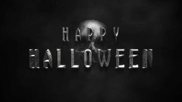 texto de animação feliz dia das bruxas em fundo de terror místico com caveira escura