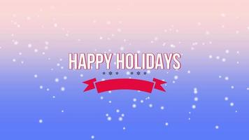 closeup animado texto de boas festas e flocos de neve brancos voando sobre fundo gradiente roxo de neve video