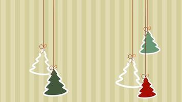 arbres de Noël agrandi animés sur fond de vacances d'hiver
