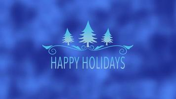 closeup animado texto de boas festas, árvores de natal azuis sobre fundo de neve video