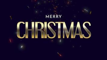 animerad närbild glad jultext med fluga-konfetti och glitter på svart semesterbakgrund