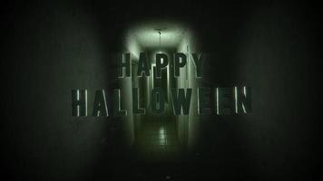 texto de animação feliz dia das bruxas em fundo de terror místico com corredor escuro da sala