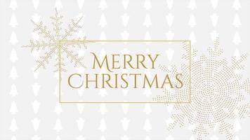 animerad närbild glad jul text och guld snöflingor med på semester vit bakgrund video