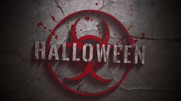 texto closeup animado de halloween e fundo de terror místico com sinal tóxico e sangue escuro