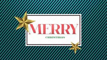 Conception de texte et de cadeau de joyeux Noël agrandi animé avec des étoiles d'or sur fond de vacances