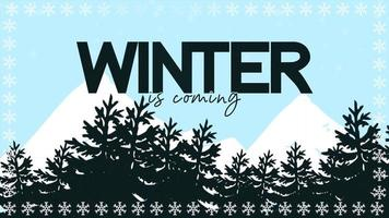 animerad närbild vinter kommer text och vinterlandskap med träd och berg på semesterbakgrund video