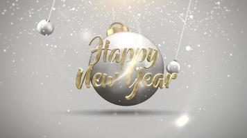 closeup animado texto de feliz ano novo, bolas de movimento e flocos de neve em branco