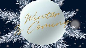 hiver gros plan animé arrive texte et paysage d'hiver avec des flocons de neige sur fond de vacances