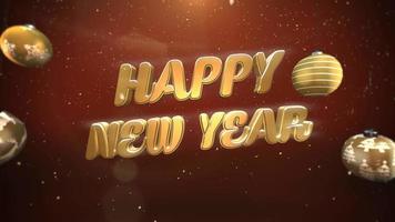 Primer plano animado texto de feliz año nuevo, copos de nieve blancos y bolas de oro sobre fondo retro