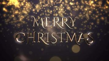 texto animado closeup feliz natal, partículas de ouro sobre fundo azul