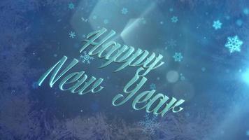 neve azul abstrata caindo e closeup animado texto de feliz ano novo em fundo brilhante