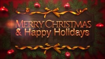 primer plano animado feliz navidad y felices fiestas texto, bolas rojas y rama verde en madera