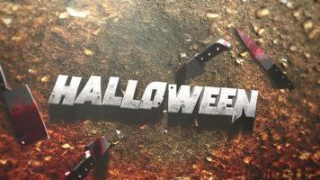 animação texto halloween em fundo de terror místico com sangue escuro e facas