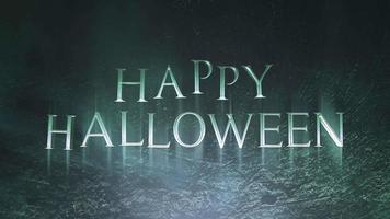 texto de animação feliz dia das bruxas em fundo de terror místico com fumaça escura e câmera de movimento