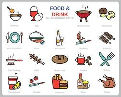 Food and Drink icon set for website, document, poster design, printing, application. Food and Drink concept icon filled outline style. vector