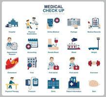 conjunto de iconos de chequeo médico para sitio web, documento, diseño de carteles, impresión, aplicación. icono de concepto de salud estilo plano. vector