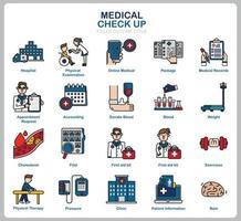 conjunto de iconos de chequeo médico para sitio web, documento, diseño de carteles, impresión, aplicación. icono de concepto de salud lleno de estilo de contorno. vector