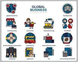 Global business icon set for website, document, poster design, printing, application. Global business concept icon filled outline style. vector