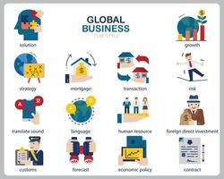 Global business icon set for website, document, poster design, printing, application. Global business concept icon outline style. vector