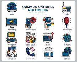 comunicación multimedia conjunto de iconos para sitio web, documento, diseño de carteles, impresión, aplicación. icono de concepto de comunicación lleno de estilo de contorno. vector