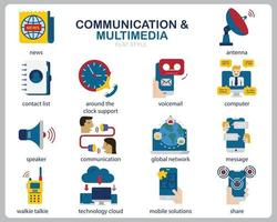 Communication Multimedia icon set for website, document, poster design, printing, application. Communication concept icon flat style. vector