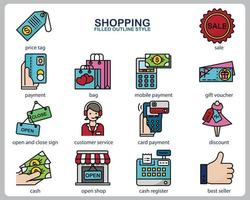 Shopping icon set for website, document, poster design, printing, application. Shopping concept icon filled outline style. vector
